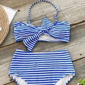 CUPSHE blue and white striped bikini
